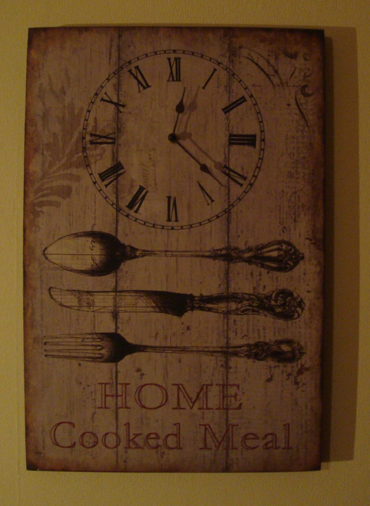 "Wanduhr ""HOME Cooked Meal"" im french Shabby chic Stil"